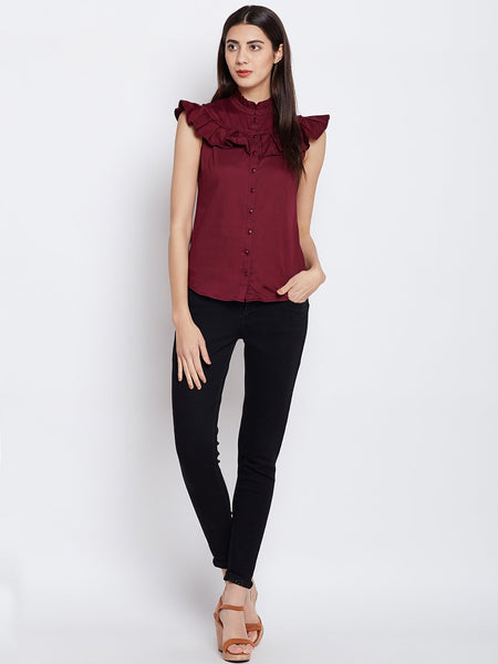 Wine Pleat Detail Shirt