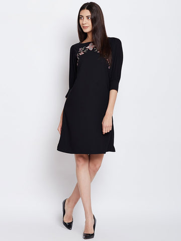 Black embroidered puffed sleeves dress
