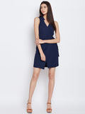 Navy wrap formal dress