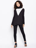 Colour block turtle neck top