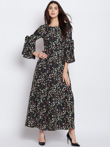 Black Printed maxi with tie detail