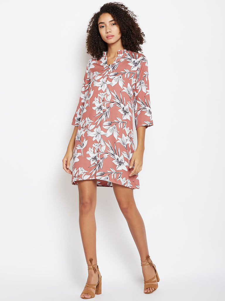 Dark Rose  printed shift dress