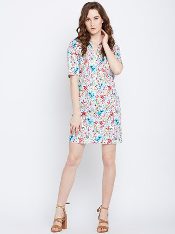 White Printed Notch Shift Dress