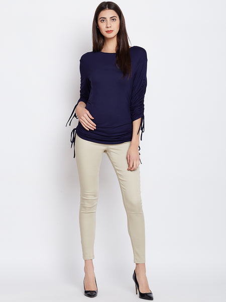 Navy tunned detail jersey top