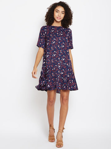 Navy bird print flared bottom shift dress