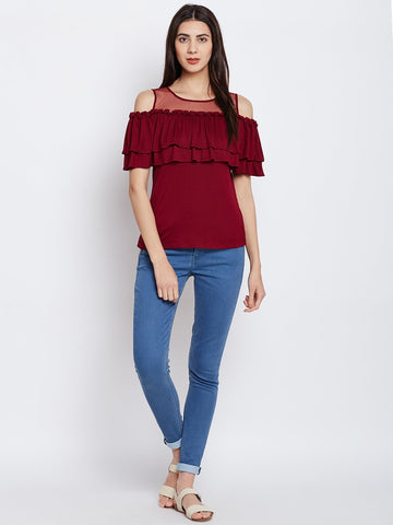Maroon Cold Shoulder Ruffle Top