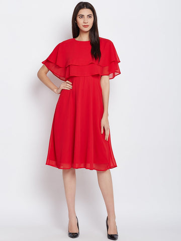 Red Tiered Fit and Flare Midi Dress