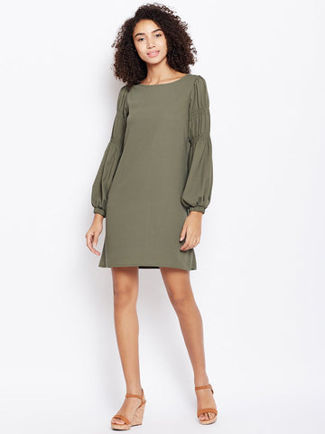 Olive smocking detail mini dress