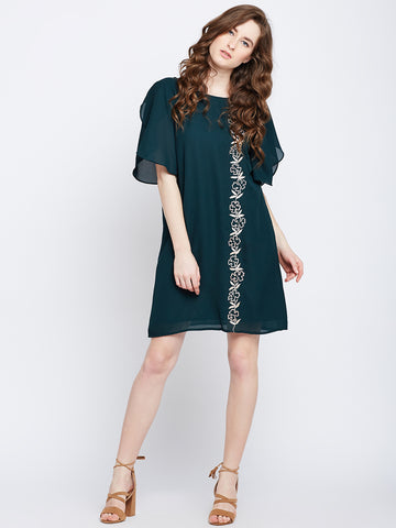 Emerald embroidered Shift Mini