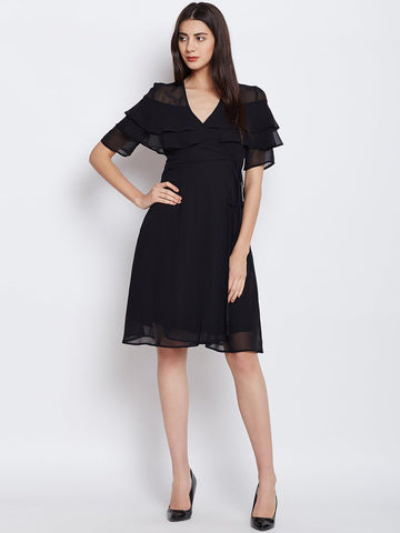Black Ruffle Wrap Midi Dress