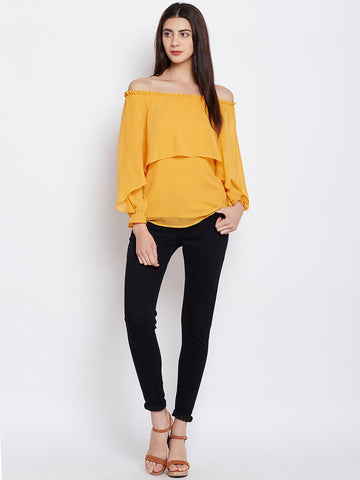 Mustard double layered top