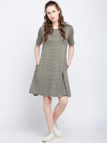 Olive Stripe Play Shift Dress