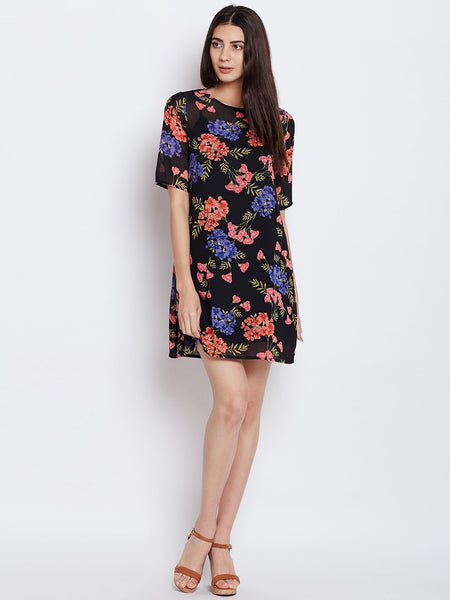 Black Floral Printed Shift Dress