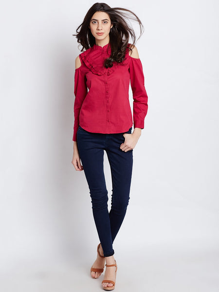 Dark Pink Cold Shoulder Shirt