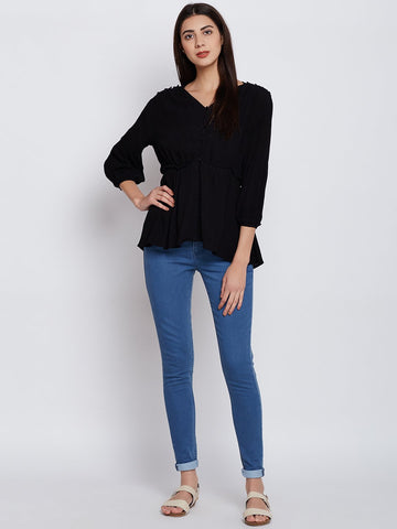 Black button down frill detail top