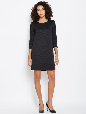 Black Quilted Shift Dress