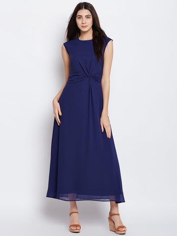 Navy waist tie knot detail maxi Dress