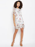 White printed ruffle detail shift dress