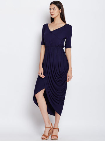 Navy waterfall drape dress