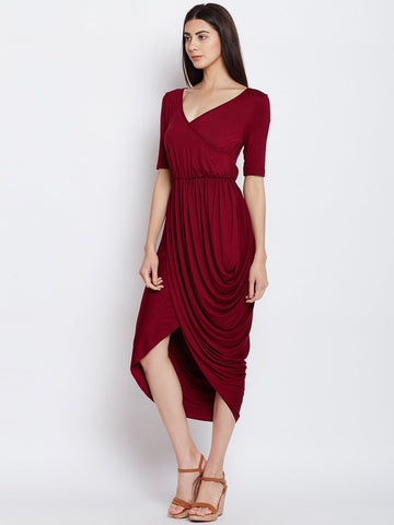 Maroon Waterfall Drape Dress