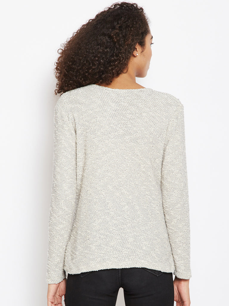Off white textured cut out detail sweater