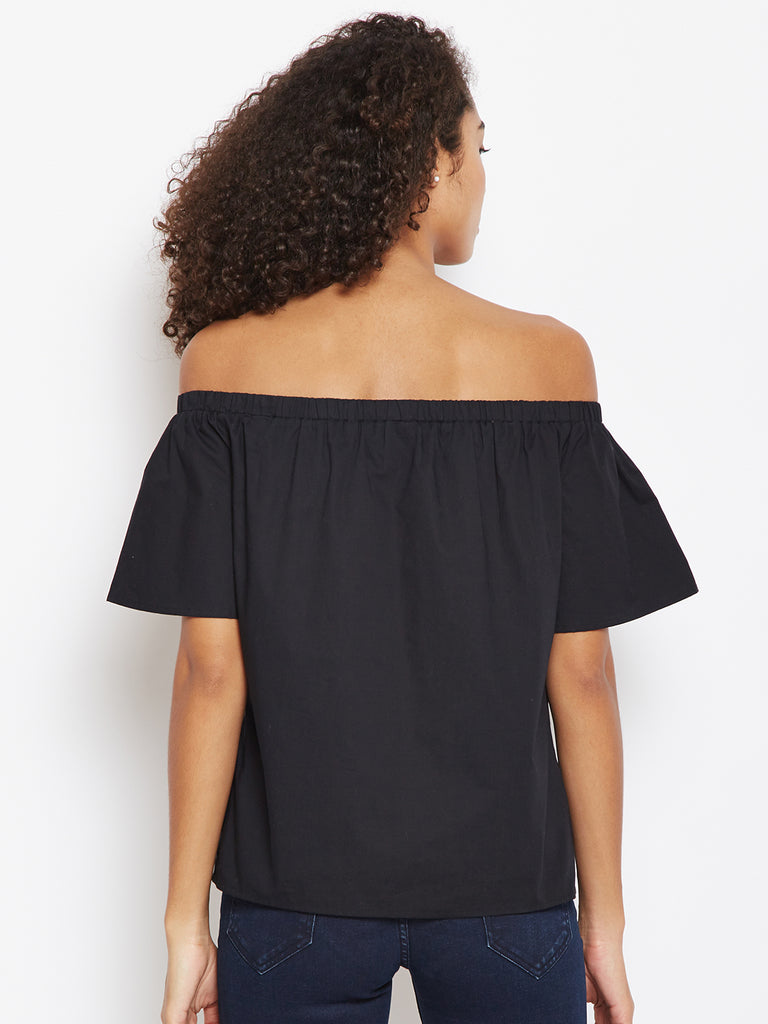 Black embroidered off shoulder top