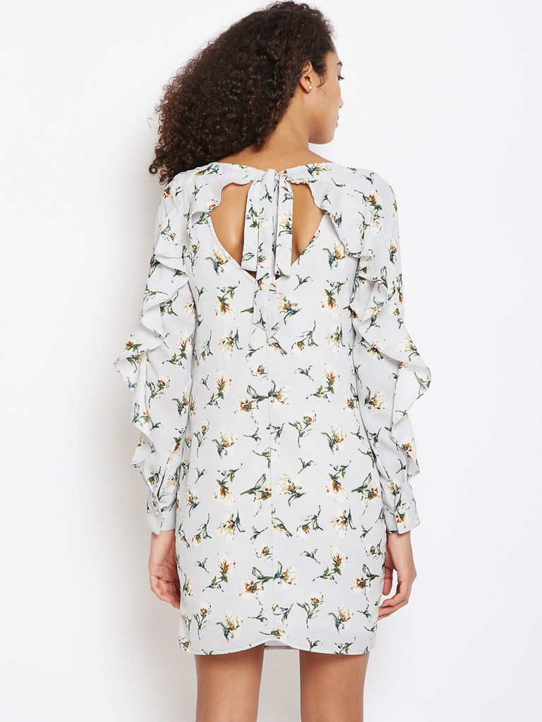 Ice blue printed back detail dress