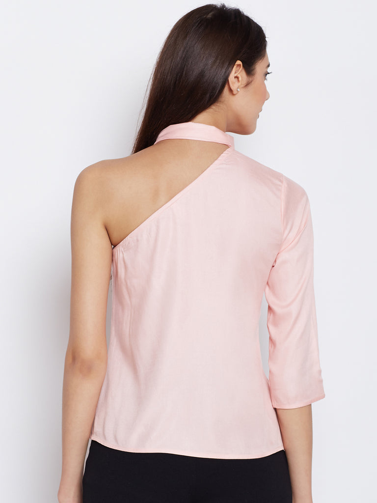 Pink one shoulder top with bow
