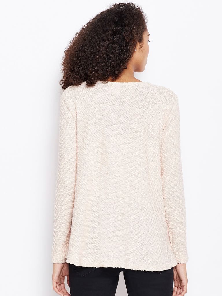Pink textured high low sweater