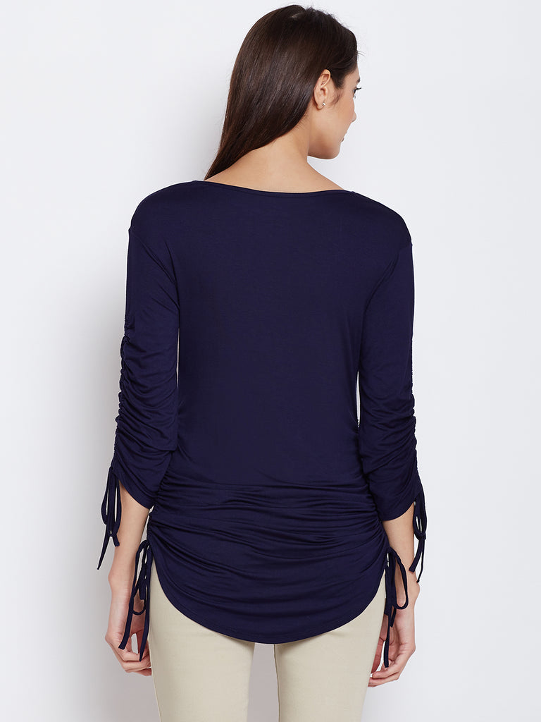 Navy tunnel detail jersey top