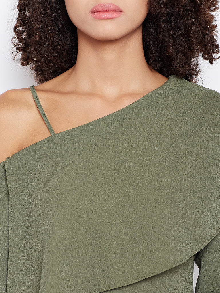 Olive One Shoulder Dress