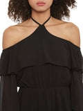Black Cold Shoulder Ruffle Dress