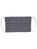 Navy Cotton Gingham Pleated Reusable Face Mask