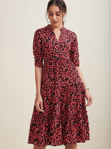 Black Floral Printed Midi Flared Dress
