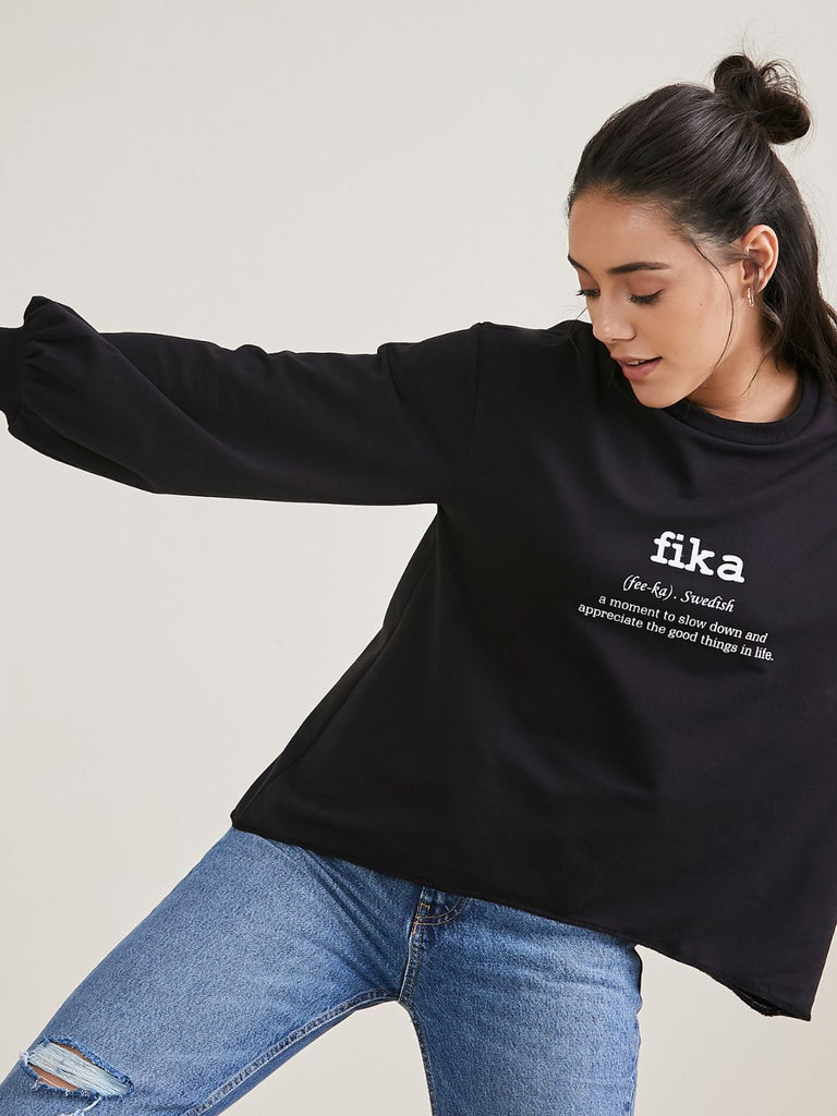 Black Fika Graphic Printed Sweatshirt
