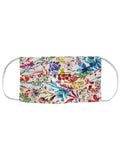White Cotton Floral Pleated Reusable Face Mask