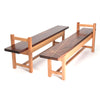 Oak and walnut bench with stylish inlay pattern