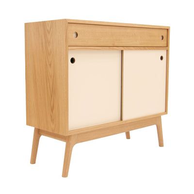 20:20 Oak Media Cabinet + Drawer with Mid Century Styling
