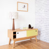 20:20 Oak Media Cabinet with Mid Century Styling