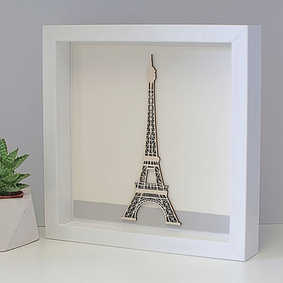 Laser cut wooden Eiffel Tower in a frame gift