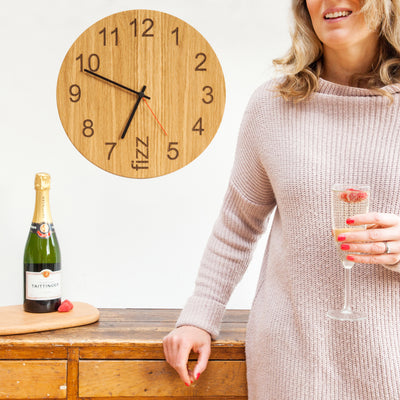 Fizz O'clock - Wooden clock for party lovers