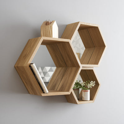 Solid wood statement hexagon mirror shelves