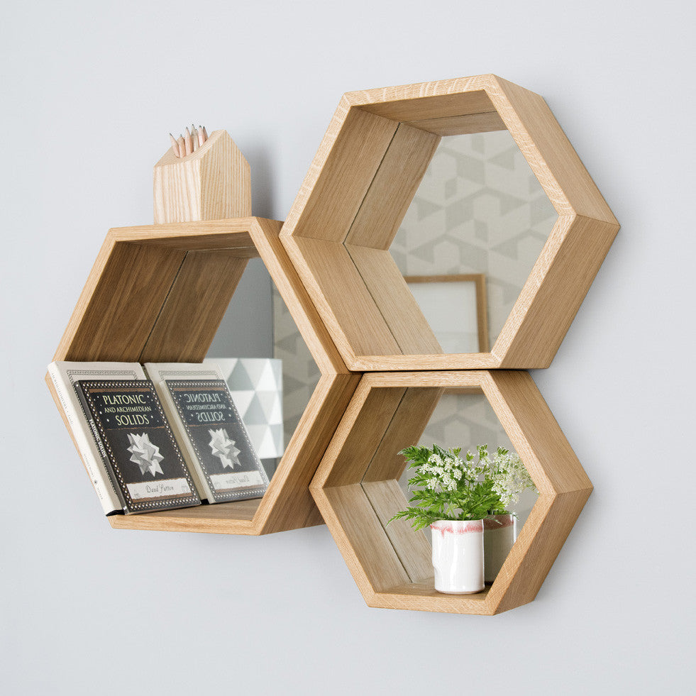 Hexagon Mirror Shelves