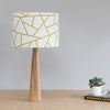 Handmade table lamp and shade with abstract geometric pattern