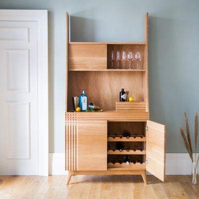 Midcentury Oak Drinks Cabinet