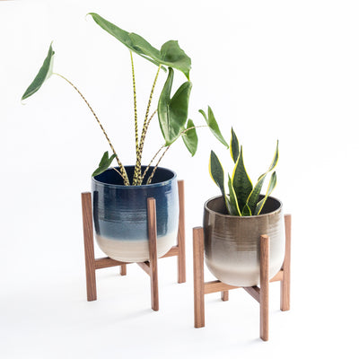 Mid century style modern plant stands with large pots