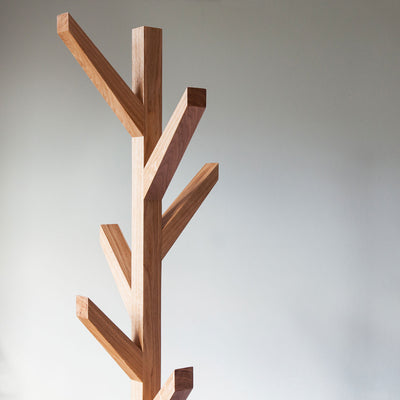 Modern Oak clothes tree and hat stand