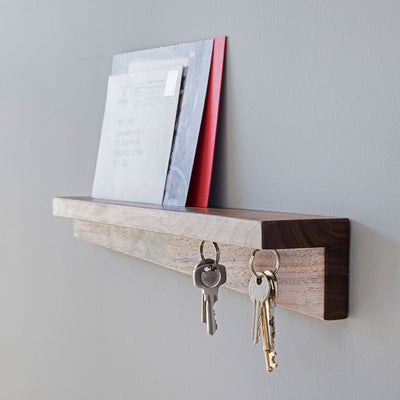Magnetic key shelf in walnut or oak