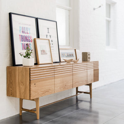 Solid Oak Contemporary Cabinet With Exquisite Fluted Detailing