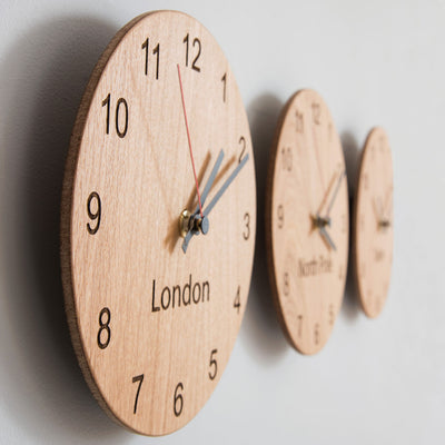 Wooden 3 clock set with personalised place names
